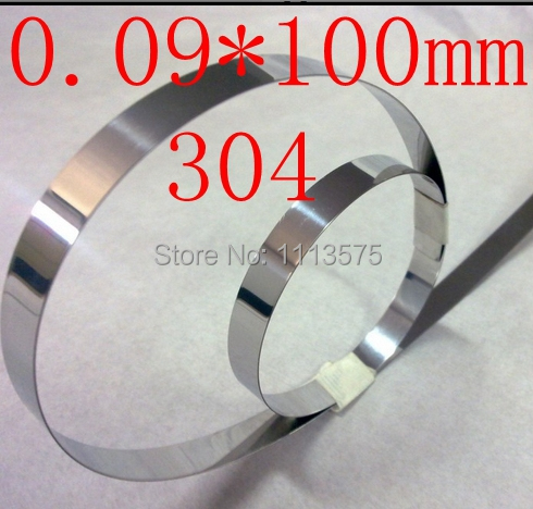 0.09 thickness 0.04*100mm authentic 304 321 316 stainless steel col rolled bright thin foil tape strip sheet plate coil roll(China (Mainland))