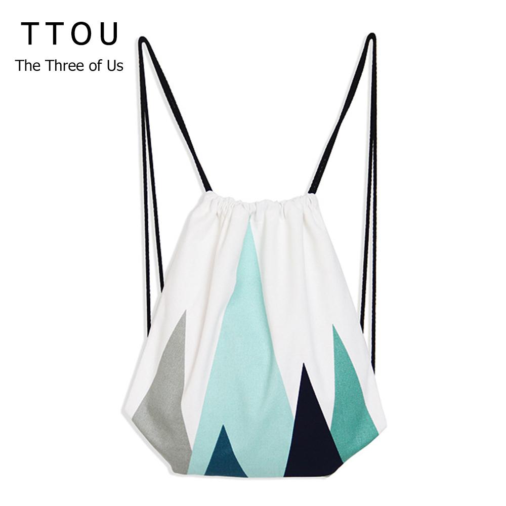 2017 Escolar Backpack 3D Printing Travel Softback Man Women Mochila Feminina Geometric Drawstring Bag Women Backpacks