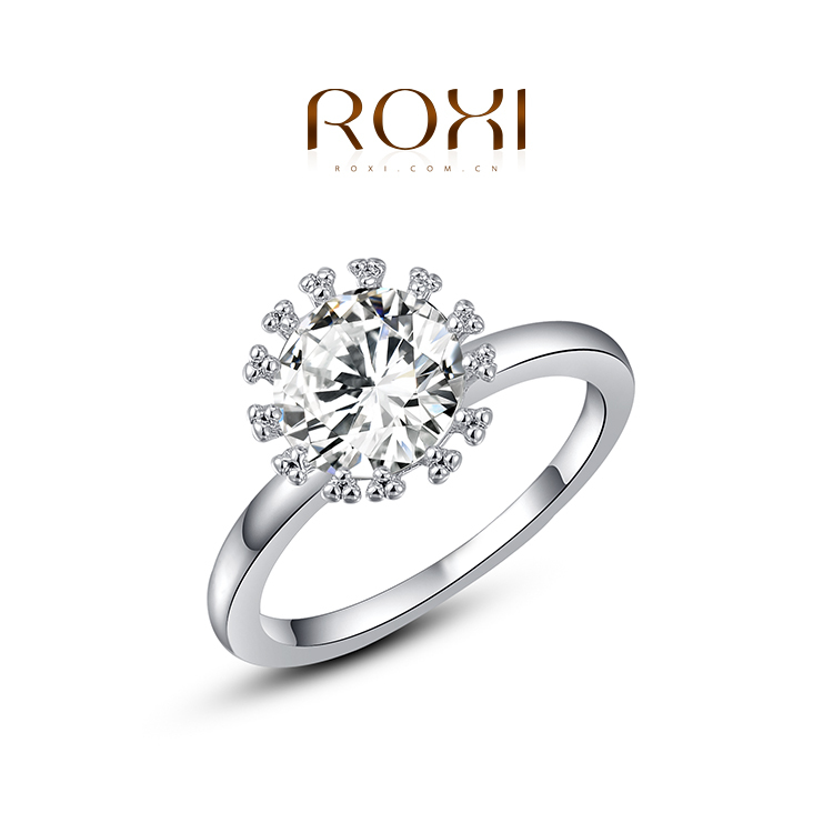 ROXI Free shipping white gold plated ring zircon rings women's pinky ring fashion accessories jewelry(China (Mainland))