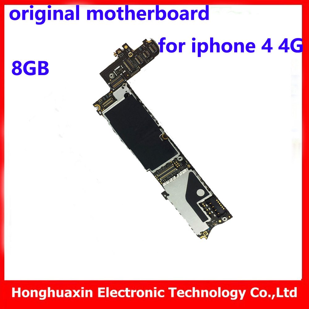 8GB 100% original motherboard for iphone 4 4G factory unlock mainboard installed IOS system logic board good working main plate(China (Mainland))