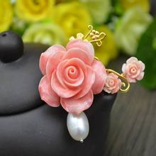 ib3257 Natural pink Coral Flowers with pearl pendant can used as brooch also,fashion elegant women jewelry,Jewelry accessories(China (Mainland))