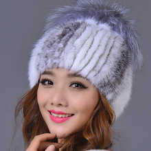 Genuine Mink Fur Female Cap with Fur Ball Pom Poms High Quality Knitted Skullies & Beanies Real Mink Fur Hat for Women(China (Mainland))