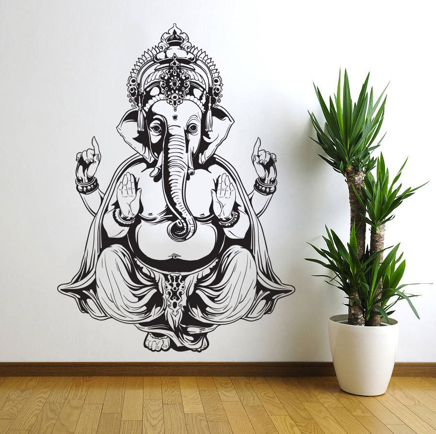 Ganesh elephant god om yoga buddha mandala ganapati living for Stickers pared baratos