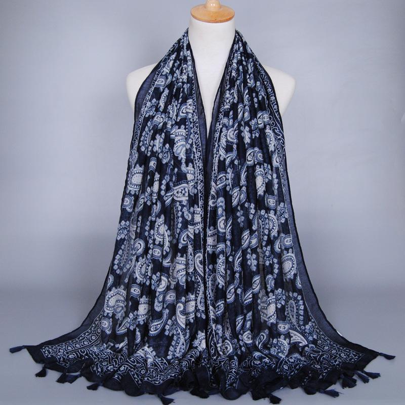Women printing floral cashew tassels scarf fashion viscose shawls muslim hijab popular scarves/pashmina 5pcs/lot(China (Mainland))