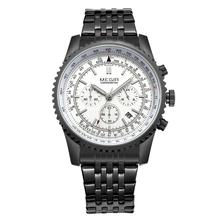 Megir cronógrafo 24 horas marca de relojes de lujo toda la mano Work Men Reloj de acero inoxidable calendario del análogo de cuarzo relojes Reloj Hombre