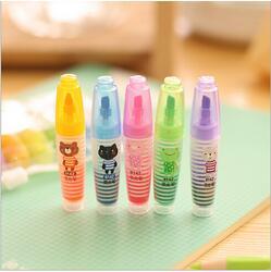 12packs/lot Kawaii animal mini Highlighter pen 6 Candy colors marker pen Escolar Stationery School supplies WJ0020(China (Mainland))