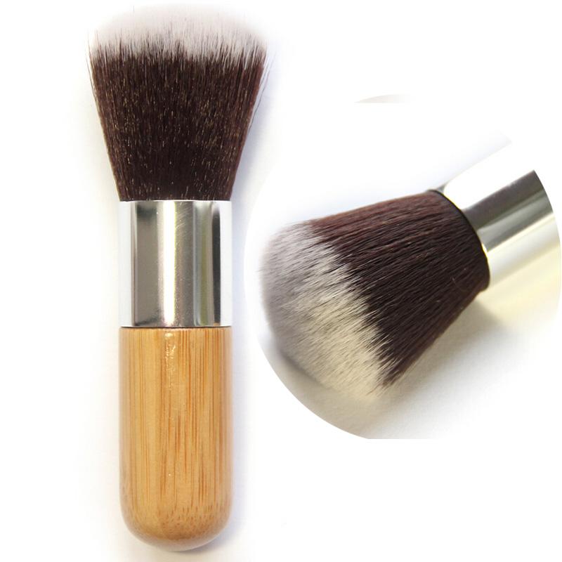 1Pcs Professional Round Flat Makeup Brushes Tools Bamboo Handle Cosmetic Powder Foundation Brush Synthetic Kabuki Contour Brush(China (Mainland))