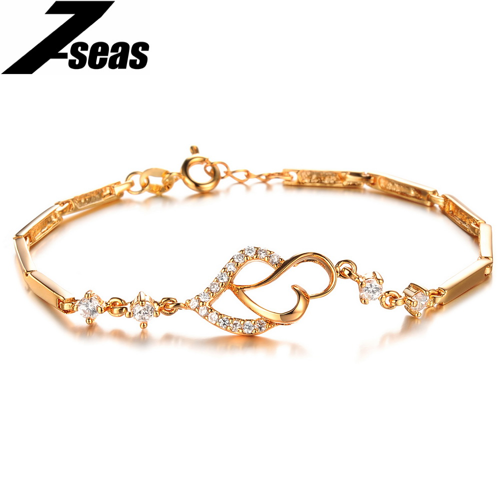 Fashion Inlaid Cubic Zirconia Heart Design Women Jewelry Bracelet Luxury Rhinestone Crystal 18K Gold Plated Women Bracelet,JM412(China (Mainland))