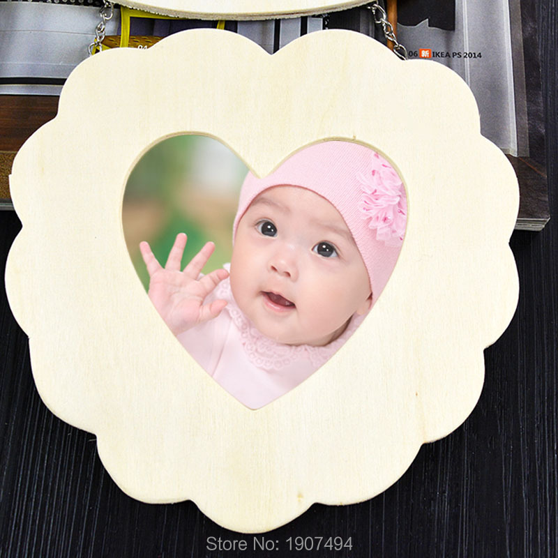 Photo Frame Wood with Iron chain Hollow Love Heart Wooden White Base DIY Picture Art Decor Free shipping(China (Mainland))
