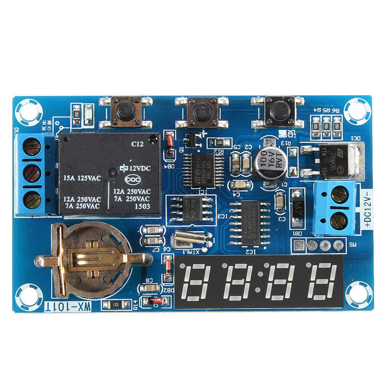 12V Relay Multifunction Cycle Delay Timer Switch Real Clock Control LED Display New Arrival LED Module Modules(China (Mainland))
