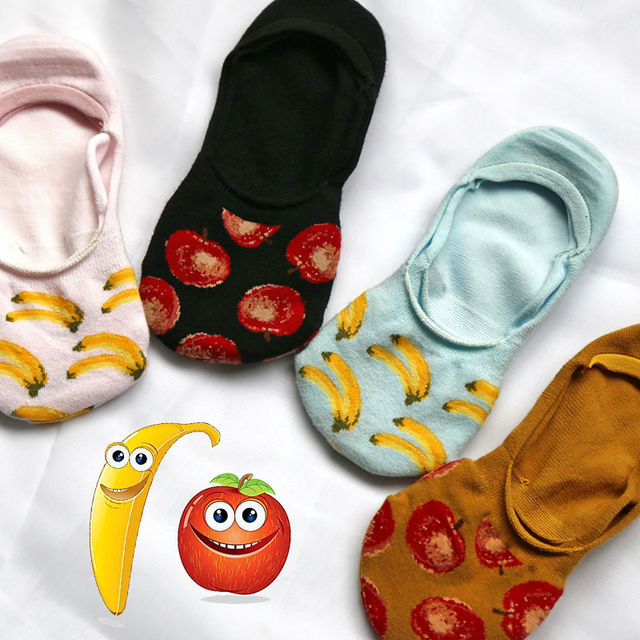 2016 новых корейских Kawaii фрукты не показывать носки женщины симпатичные банан трубке носки новинка чистый хлопок non-slip невидимые носки