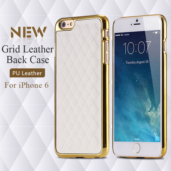 I6 Slim Case Premium PU Leather Back Cover For Iphone 6 4.7inch Portable Cell Phone Cover With Thread Lattice Mobile Phone Case(China (Mainland))