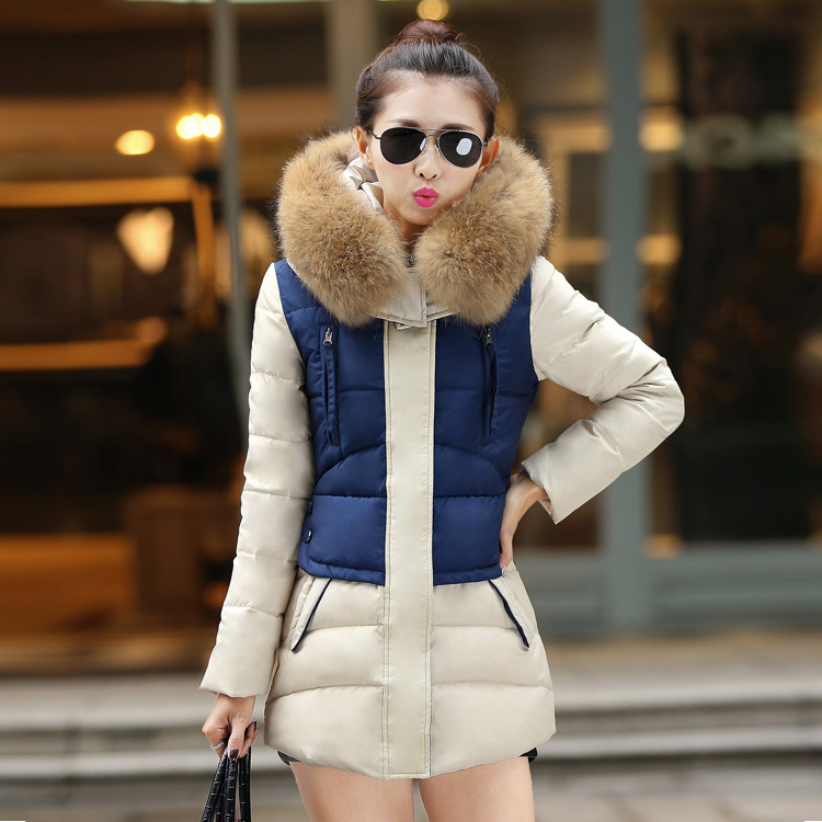 2015 winter new women's parka fashion long style Slim thin hooded cotton jacket coat fur collar overwear free shipping,Y1103-77D