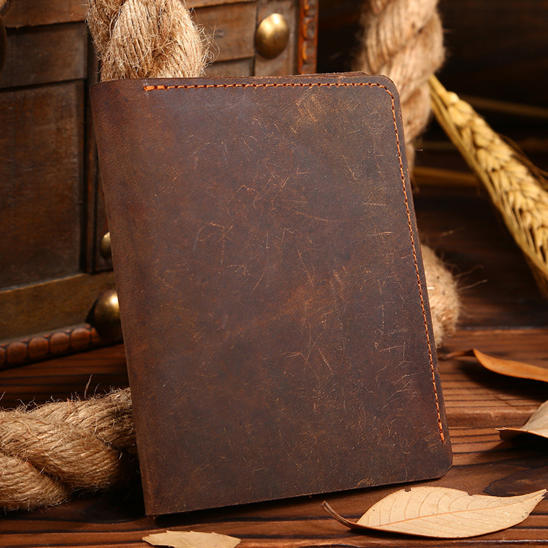 2016 100% Genuine Leather Men Wallet Crazy Horse Male Purse Vintage Top Quality Short Wallets Carteira Masculina Cardholders(China (Mainland))