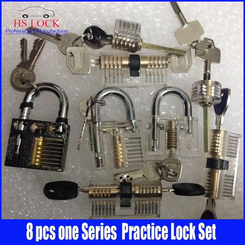 8 pcs Cutaway Inside View Of Practice Padlocks Lock Pick Tools Locksmith Training Skill Tools Set Hot sale(China (Mainland))
