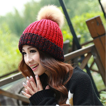 new arrival 2015 hot sale hats women ball dress beanies turn along mixed colors knitted hat free shipping HT083