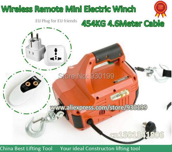 454 kg mini elektrische lier takel portable met draadloze for Paranco elettrico telecomando senza fili