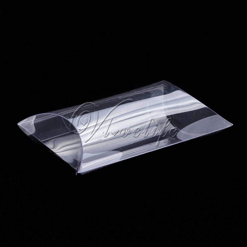 50pcs Clear PVC Pillow Box Shape Gifts Box Party Candy Box Jewelry Packaging Wedding Party Favor Supplies 9cm x 6.5cm x 2.5cm(China (Mainland))