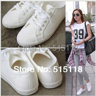 2015 the new leisure pure color flat with canvas shoes free shipping