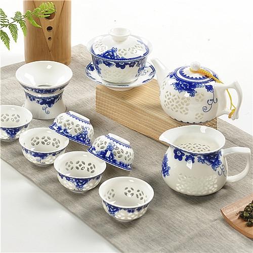 Cerámica esmalte de porcelana con características chinas Crystal Peony Hollow té Kung Fu chino del té de cerámica antiguo(China (Mainland))