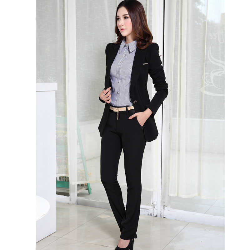 Business womens suits with pants new 2015 office uniform for Office uniform design 2015