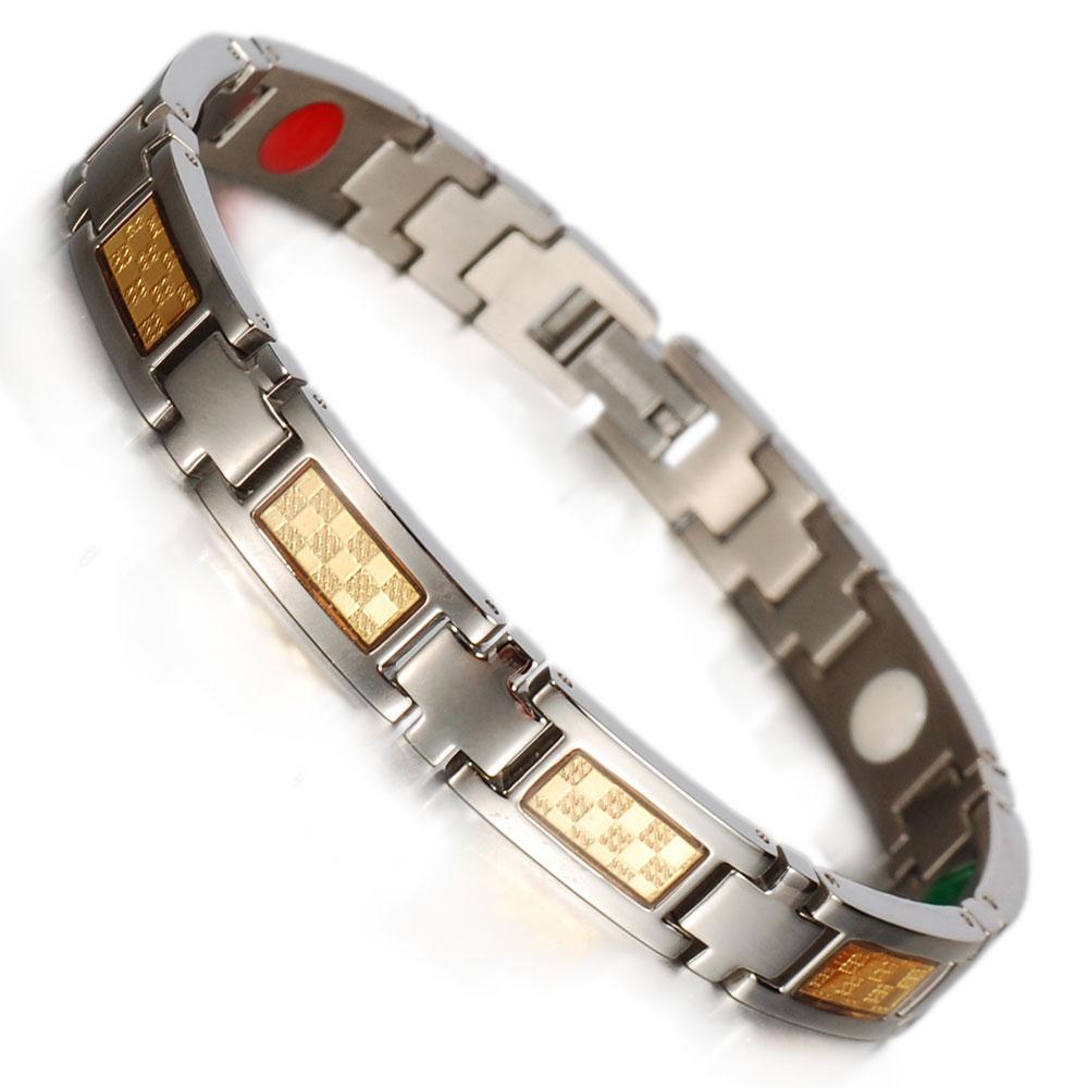 Inox Energy Healing Women Fashion Bracelets Gold Foil Germanium Infrared Negative Ion Pure Titanium Bracelets Bangles for Women(China (Mainland))