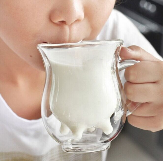 New Double Glass Milk Glass Mugs Heat Is Small Cows Milk Cup Water Bottle Mug Cups And Mugs Glass 13*8*11CM Free Shopping(China (Mainland))