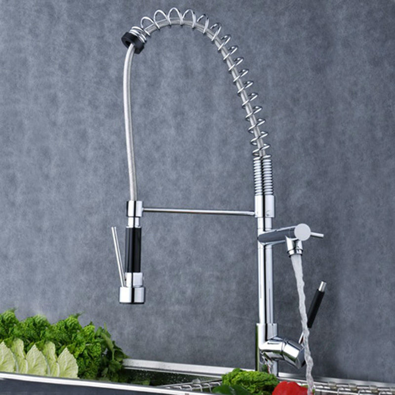 European design Luxury Chrome Brass Spring Kitchen Faucet Single Handle Hole Vessel Sink Mixer Tap(China (Mainland))