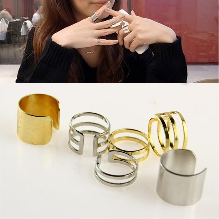 Punk Ring Set Finger Band Multi Type Geometry Hollow Adjustable Size Unique Gold Silver Rings Rock Jewelry women A1452a - Redavid Store store