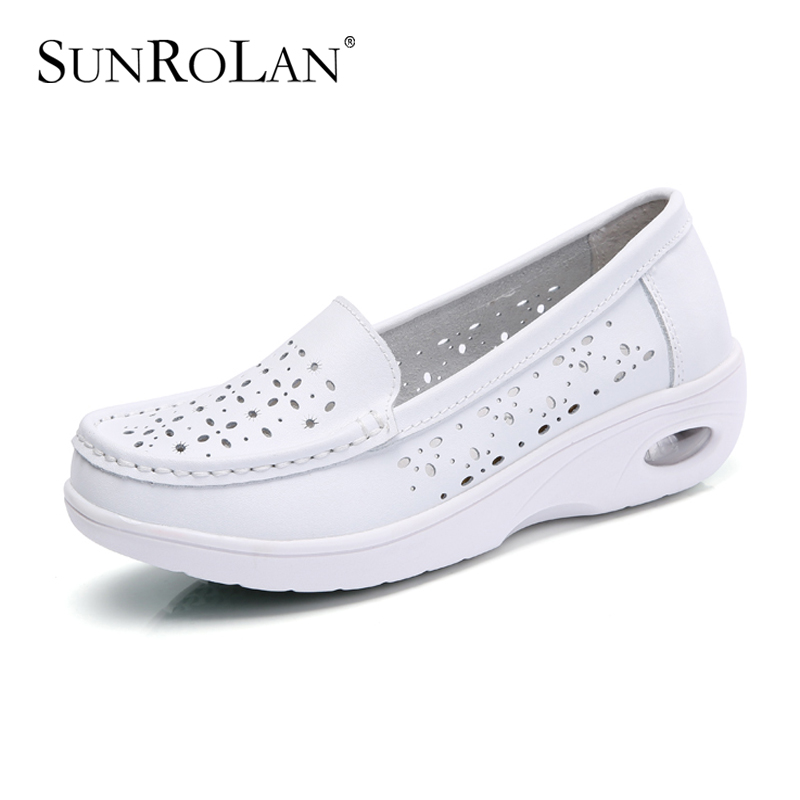 SUNROLAN 2017 Spring Women Flat Platform Cut-out Shoes Fashion White Nursing Shoes Slip On Loafers Women Shape Up Shoes PP8015(China (Mainland))