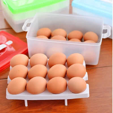Two Layer Plastic Food Chicken Egg Holder Storage Bin Box Hamper Portable Egg Container(China (Mainland))