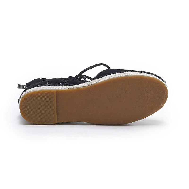 2017 SpringAutumn Mujeres alpargatas holgazán Punta Redonda Cómoda Cáñamo Inferior Zapatos Frisherman Cortada Encaje Hasta Zapato Mujer Negro en Mocasines
