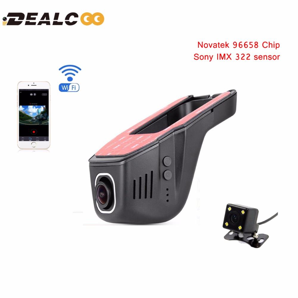 Dealcoo Car DVR Camera Video Recorder WiFi APP Novatek 96658 IMX 322 dvr FHD Registrator Night Vision Dash Cam DVRs Dual Lens(China (Mainland))