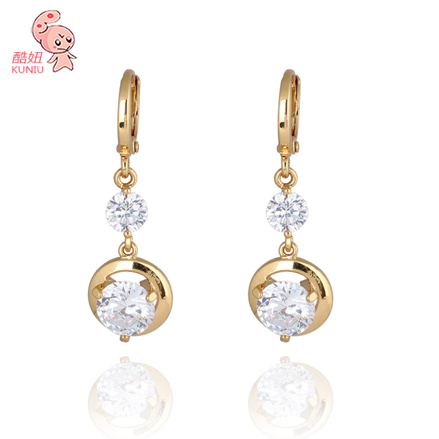 Free Shipping KUNIU Wholesale 18K Real Gold Plated  Austrian Crystal Water DropEarring Jewelry ER0242