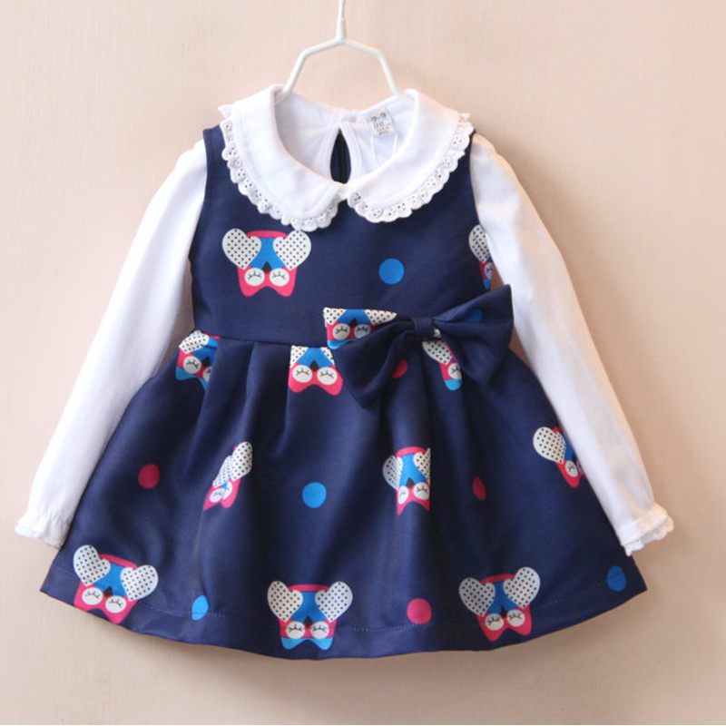2 8Yrs girl dress New designed kids girls fall autumn