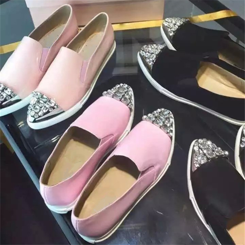 Фотография Newest Design Autumn Rhinestone Single shoes Pointed Toe Luxury Crystal Pink Flat Casual Shoes Women Pumps Comfortable Slip-On