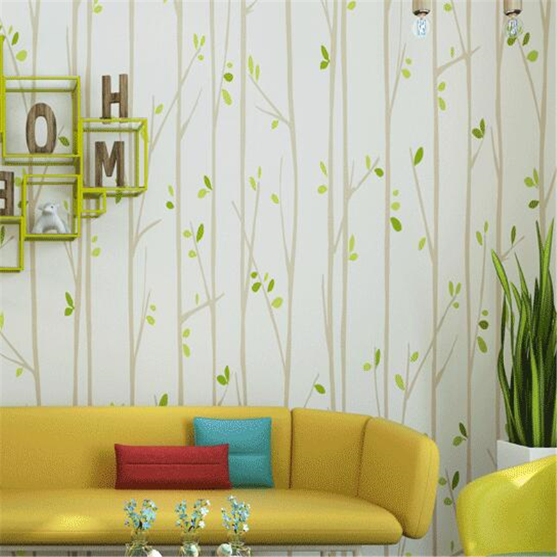 Child room trees leaf wallpaper for baby kids room non for Yellow wallpaper home decor
