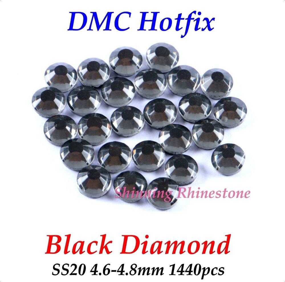 DMC Black Diamond SS20 4.6-4.8mm Glass Crystals Hotfix Rhinestone Iron-on Rhinestones Shiny DIY Garment Bag With Glue(China (Mainland))