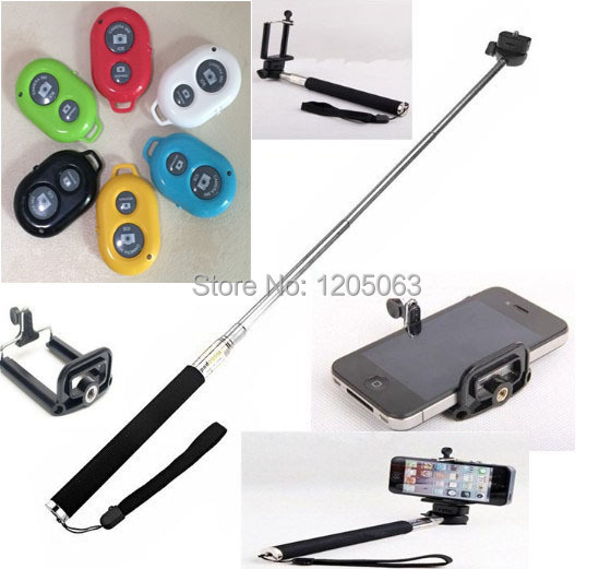 Extendable Self Selfie Stick Handheld Monopod +Clip Holder+Bluetooth Camera Shutter Remote Controller for iPhone Samsung Phone(China (Mainland))