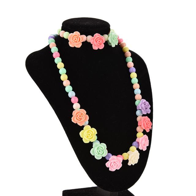 Прекрасные дети ожерелья браслет роуз-образный девочка ну вечеринку ювелирные изделия ...
