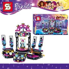 476pcs SY380 Friends Pop Star Show Stage Minifigures Grils DIY 3D Building Blocks Model Action Figures Toys Compatible With Lego