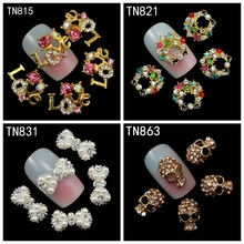 10Pcs/Pack Rhinestones Nails Studs With Pearl (Letters Love,Garland ,Bow ,Skull) 3D Nail Art Decorations Glitters Nail Tools(China (Mainland))