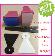 Free Shipping New Arrival Super Size Nail Art Stamping Stamper With 2 PCS Plastic Scraper Soft Silicone Squishy Head Nail Art(China (Mainland))