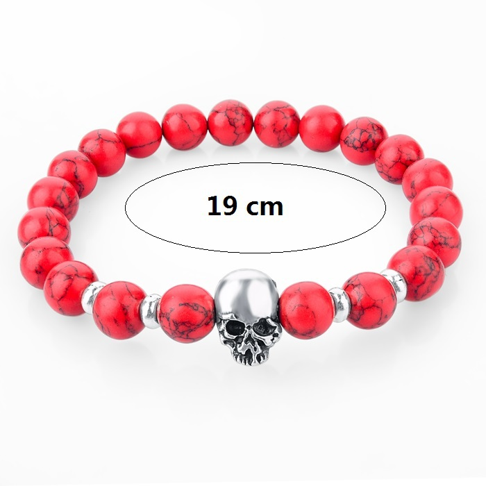 2015 New fashion natural stones skull bracelet For women Lava stone beads and tiger eye stone