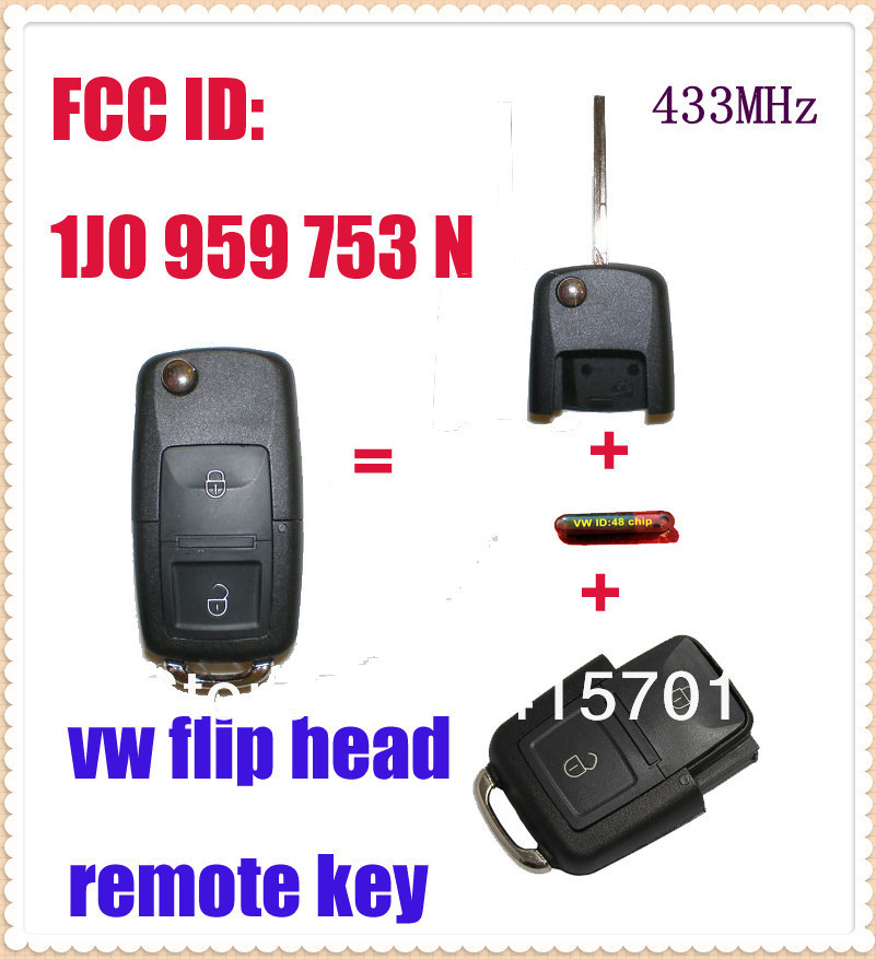 1J0 959 753 N VW Flip REMOTE KEY 433MHz 1J0959753N REMOTE KEYLESS ENTRY TRANSMITTER FOB For VOLKSWAGEN, SEAT, SKODA