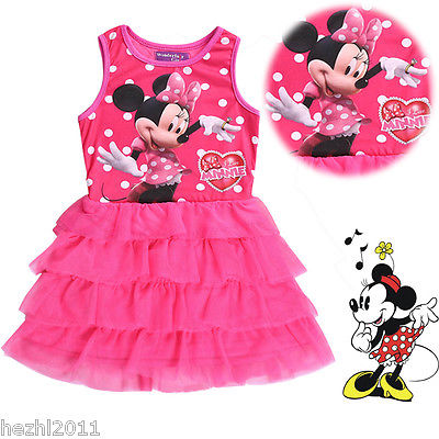 Minnie mouse dress For Baby Girls Tulle Dress Summer Kids Cartoon Tops Clothes Party Tutu Dress(China (Mainland))
