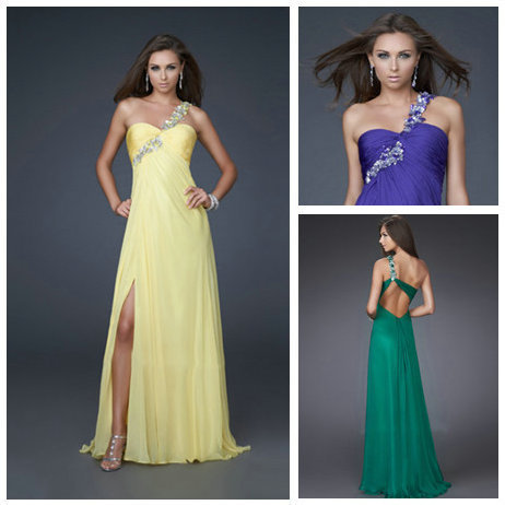 Stylish Yellow Purple Hot Pink One-shoulder Beaded Floor-length Prom Dresses 2015 New Arrival Robe De Soiree(China (Mainland))