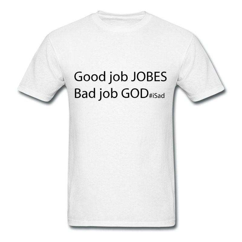 Design Casual Mans Tee God Job Vs Good Jobs Steve Jobs Tribute Swag High School T-Shirts for Man O Neck With Retail Box(China (Mainland))