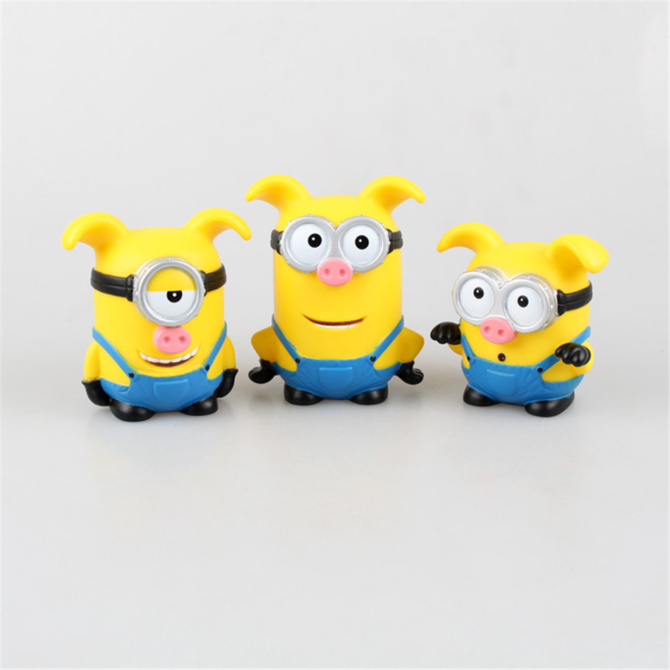 POP Toy Set 3PCS/set Minions toys yellow doll 3D eyes peluche Minion despicable me 2 Kid Toys Vinyl OPP for Children Gift 0318(China (Mainland))