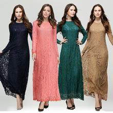 New 2016 Hot Fashion Muslim Lace Dress O-Neck Women Long Sleeve Ankle-Length Elegant Arab World Mxi Womens OutWears Clothing
